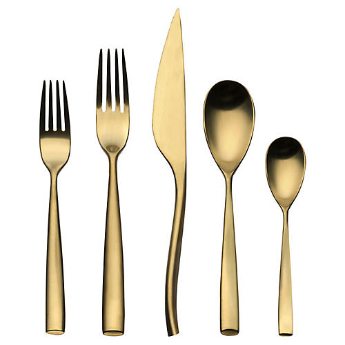 5-Pc Arte Serving Set, Gold