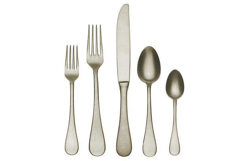 5-Pc Matte Place Setting, Champagne