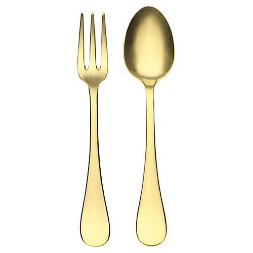Asst. of 2 Oro Serving Set, Gold