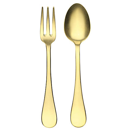 Asst. of 2 Oro Serving Set, Gold