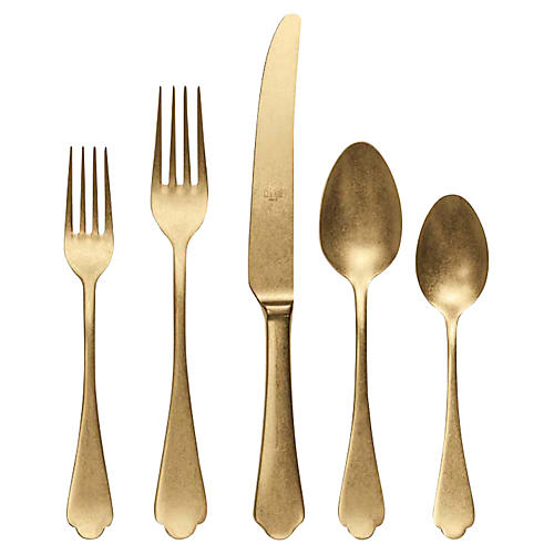 5-Pc Dolce Vita Place Setting, Gold