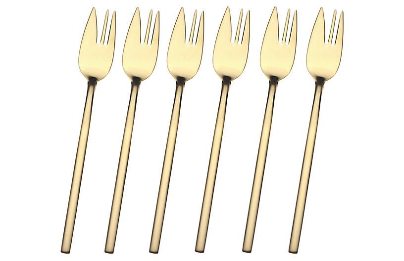 S/6 Due Dessert Forks, Gold
