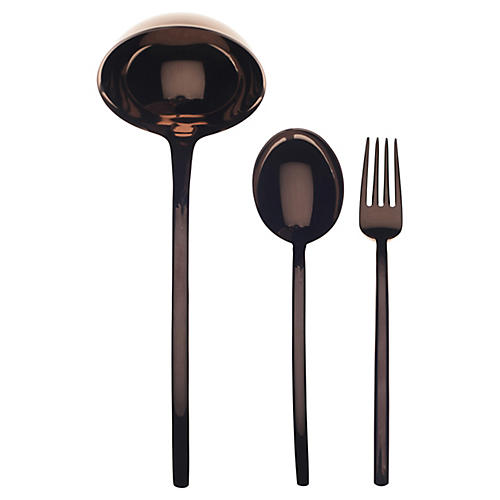 Asst. of 3 Due III Serving Set, Bronze