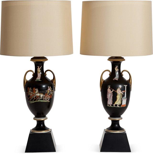Neoclassical Urn Lamps, Pair