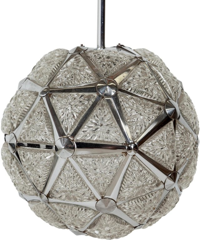 French Geodesic Crystal & Chrome Fixture