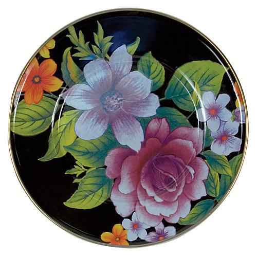 Flower Market Salad/Dessert Plate, Black