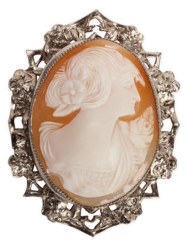 Edwardian Shell Cameo Brooch