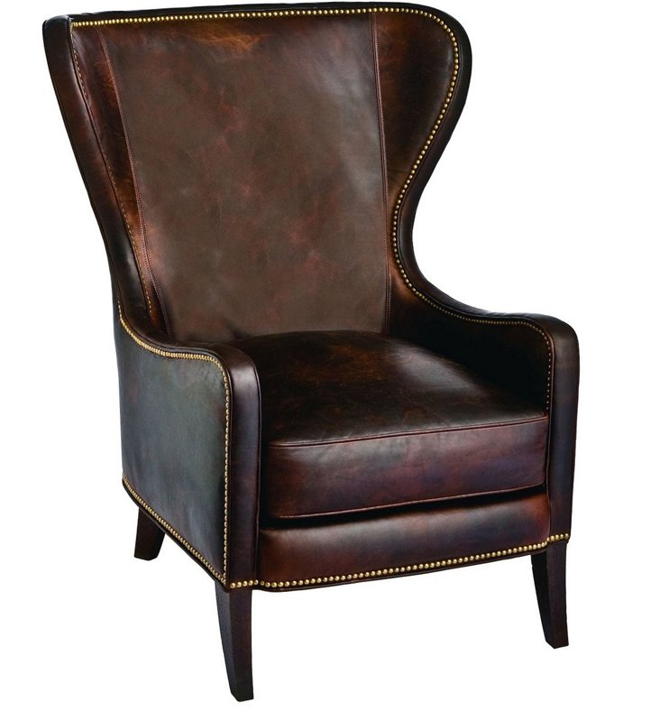 Dempsey Leather Chair, Cocoa