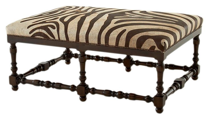 Eva Leather Hide Bench, Zebra