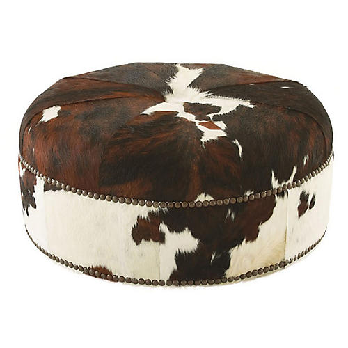 Jackson Cocktail Ottoman, Brown Hide