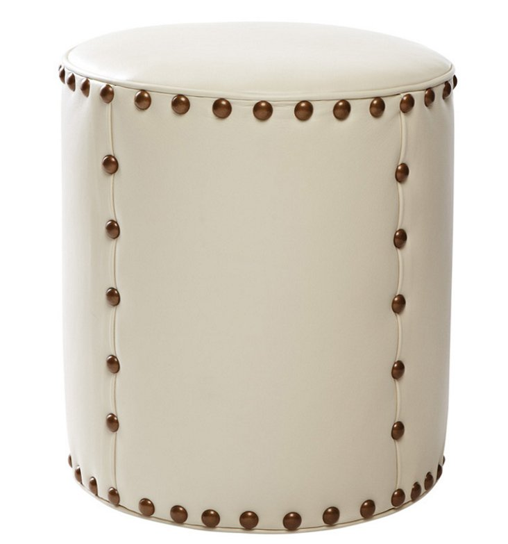"Olivia 18"" Round Leather Stool, Cream"