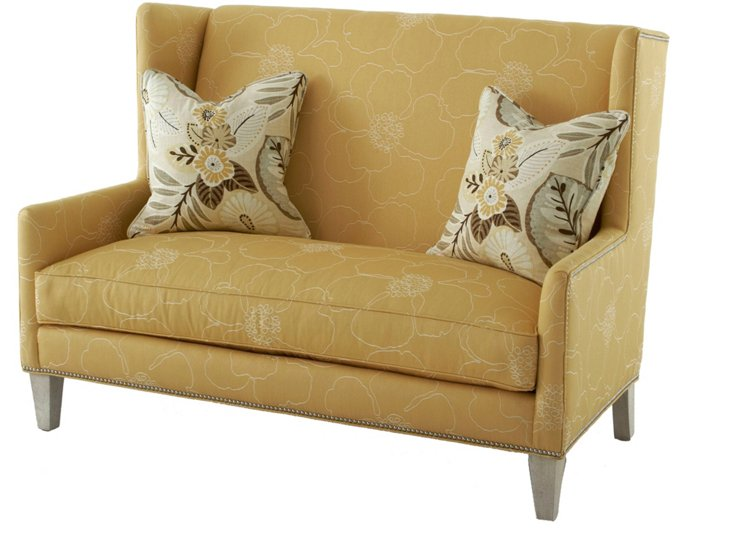 "Chaucer 60"" Wingback Settee, Yellow"