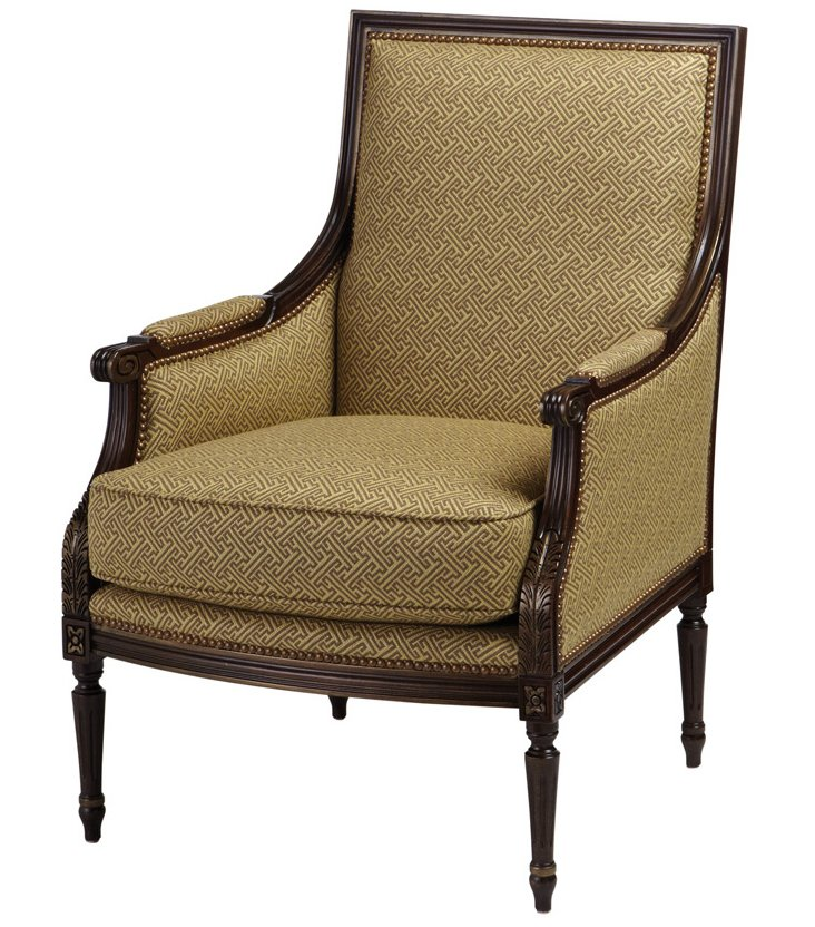 James Chair, Gold/Tan Greek Key