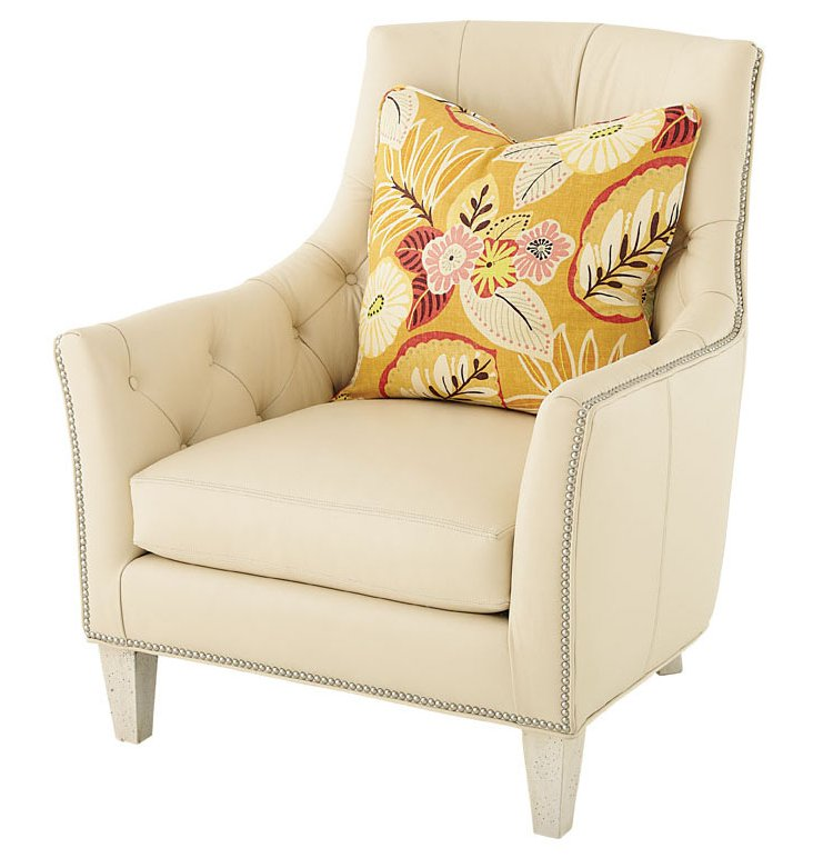 Dierdre Tufted Leather Club Chair, Cream