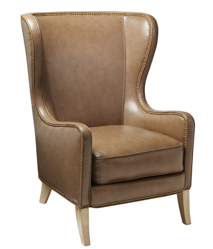 Dempsey Leather Wingback Chair, Almond