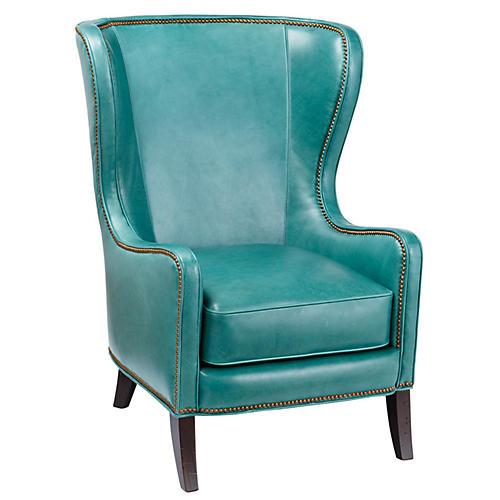 Dempsey Wingback Chair, Aqua Leather