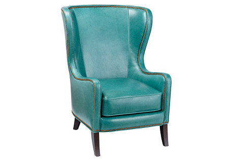 Dempsey Wingback Chair, Aqua Leather