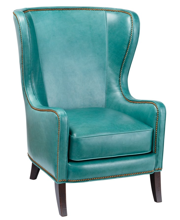 Dempsey Wingback Chair, Turquoise