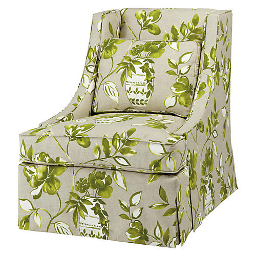 Cheryl Swivel Chair, Green Floral