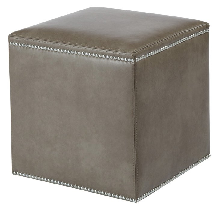 Gibson Leather Ottoman, Gray
