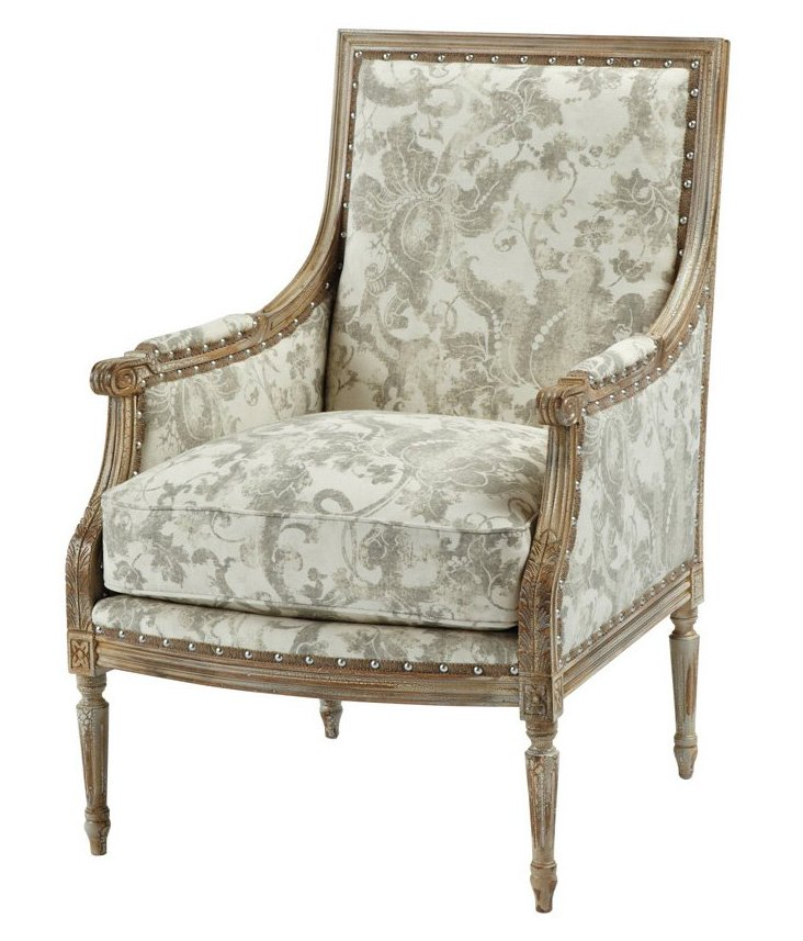 James Accent Chair, Gray Floral