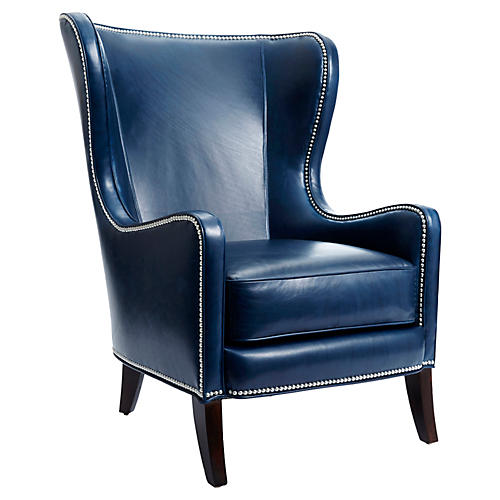 Dempsey Wingback Chair, Navy Leather
