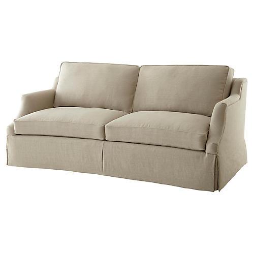 """Chelsey 86"""" Skirted Sofa, Flax Linen"""