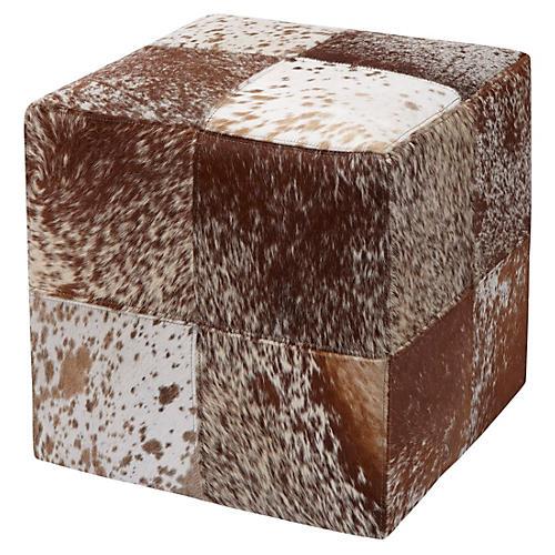 Mae Cube Ottoman, Brown Hide