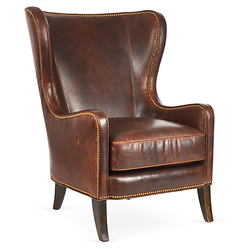 Dempsey Wingback Chair, Bourbon Leather