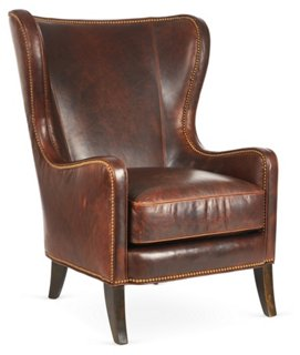 Dempsey Wingback Chair, Bourbon Leather   Massoud Furniture   Brands | One  Kings Lane
