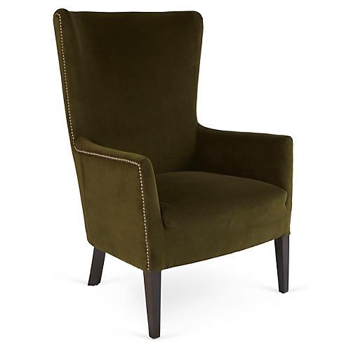 Ethan Wingback Chair, Forest Velvet