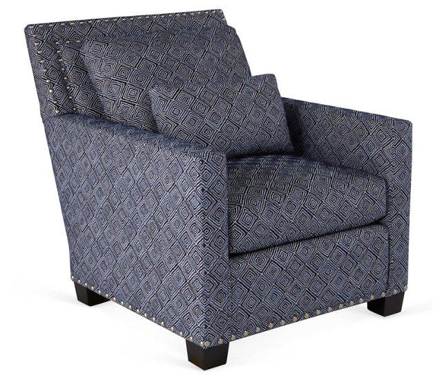 Wilson Nail-Trim Club Chair, Indigo