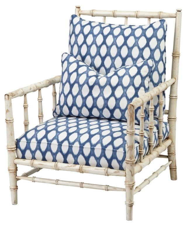 Clarence Accent Chair, Blue/White Dot