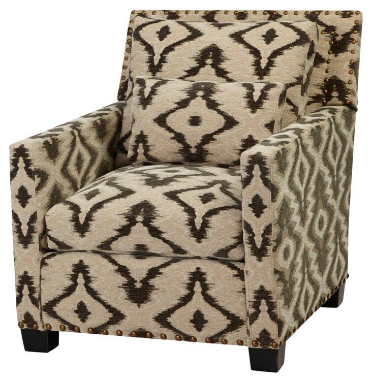 Wilson Club Chair, Black/Tan