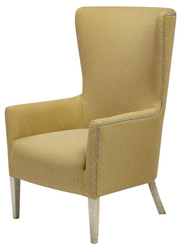Ethan Nail-Trim Wingback Chair, Green