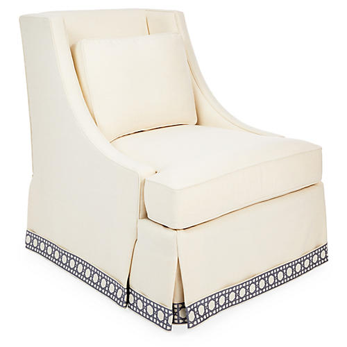 Cheryl Skirted Chair, Cream/Blue Trellis
