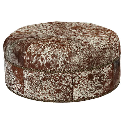 Jackson Cocktail Ottoman, Lt Brown Hide