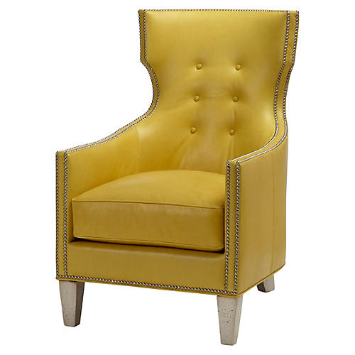 Jonty Wingback Chair, Yellow Leather