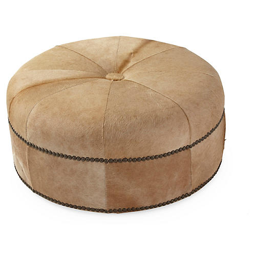 Jackson Cocktail Ottoman, Tan Hide