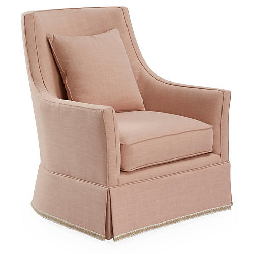 Alcott Swivel Chair, Blush Linen