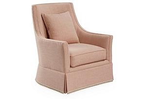 Alcott Swivel Chair, Blush Linen