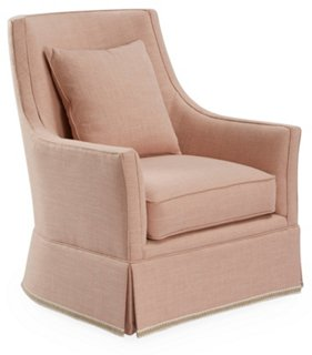 Alcott Swivel Chair, Blush Linen   Recliners, Gliders U0026 Swivel Chairs    Chairs   Living Room   Furniture | One Kings Lane