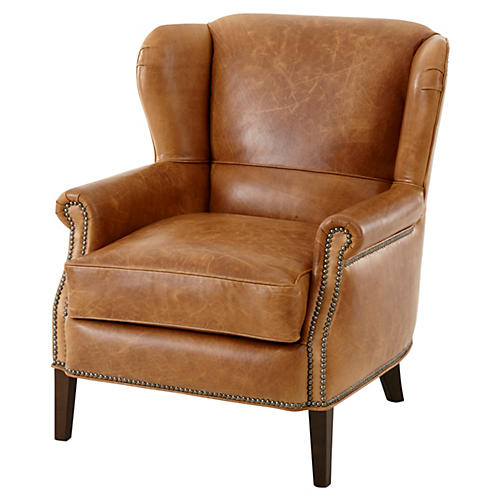 Marcus Wingback Chair, Brown Leather