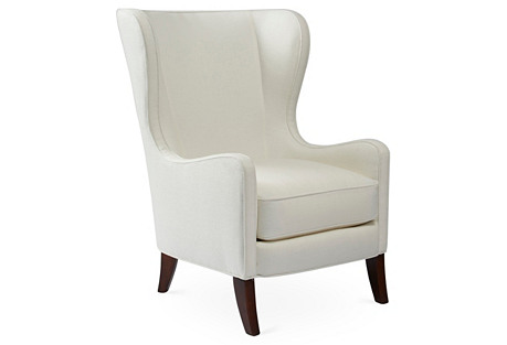 Dempsey Wingback Chair, White Linen