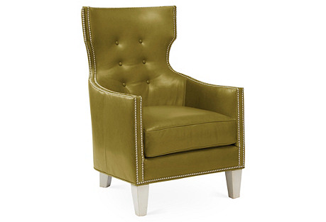Jonty Wingback Chair, Spruce Leather