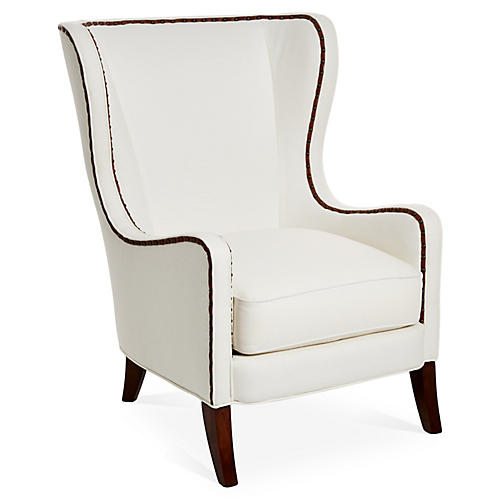 Dempsey Wingback Chair, White/Saddle