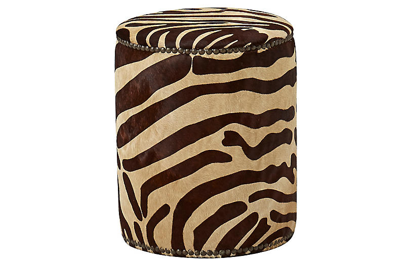 Zoe Ottoman, Caramel Zebra