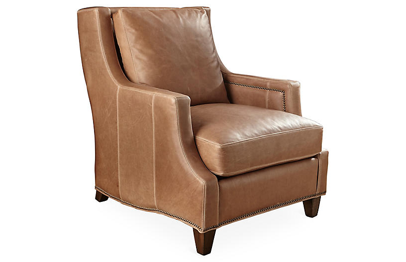 Montrose Club Chair, Tobacco Leather