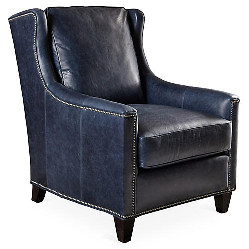Varick Club Chair, Blue Leather