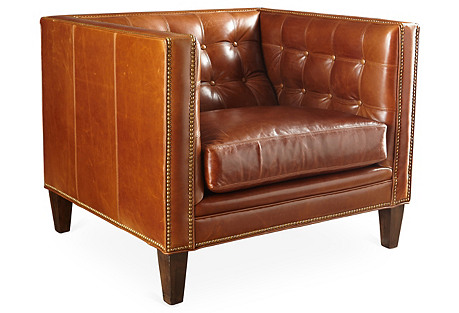 Vale Club Chair, Saddle Leather